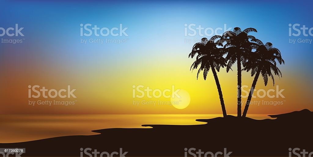 beach with palms and sunset vector landscape vector art illustration