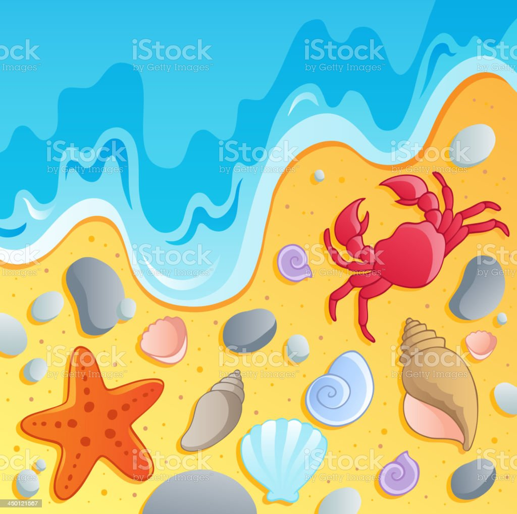 Beach with shells and sea animals 1 royalty-free stock vector art