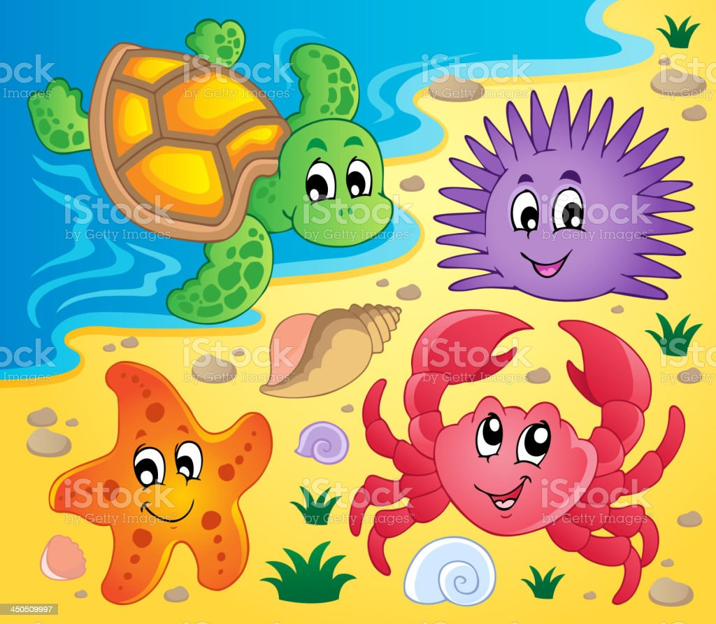Beach with shells and sea animals 3 royalty-free stock vector art