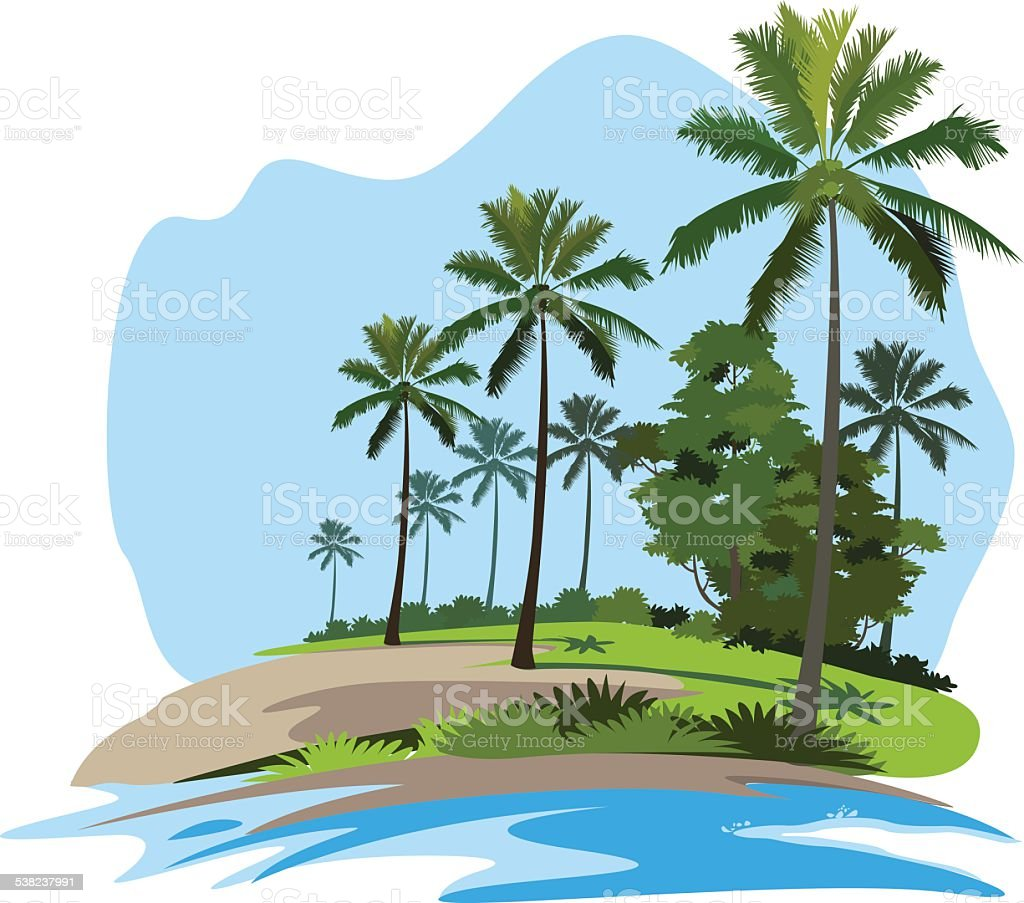 Beach with some palm trees vector art illustration
