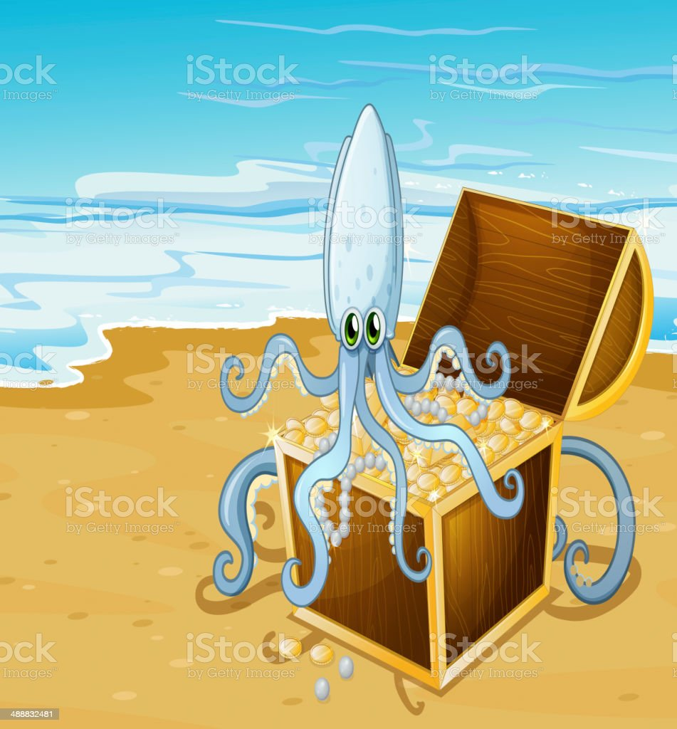 beach with treasure box and octopus royalty-free stock vector art