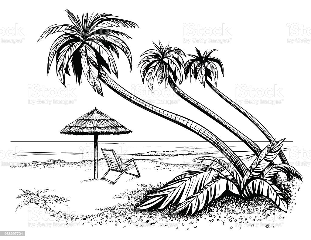 Line Art Beach : Beach with umbrella and palms drawing stock vector art