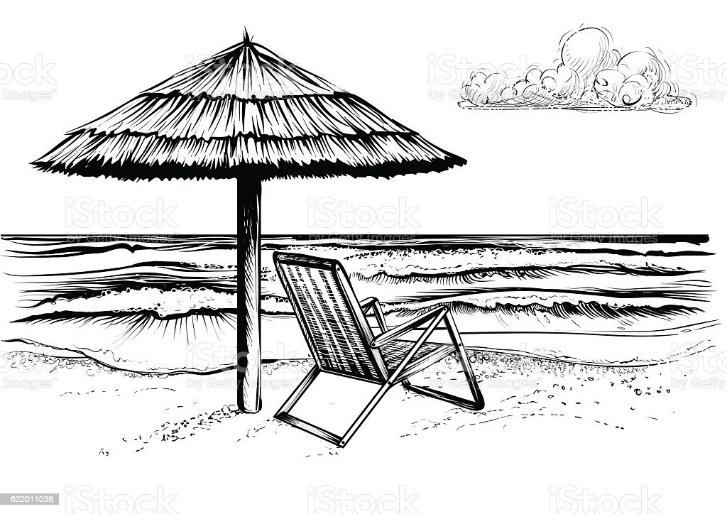 Beach with waves, parasol and chaise longue. vector art illustration