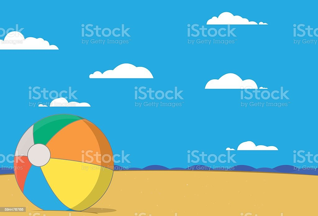 Beachball on beach vector art illustration