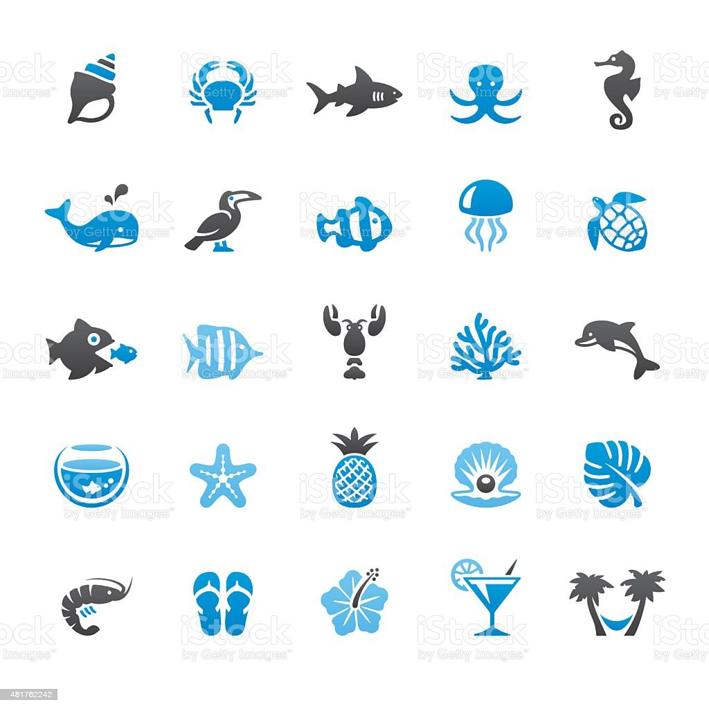 Beaches and Sea Life related vector icons vector art illustration