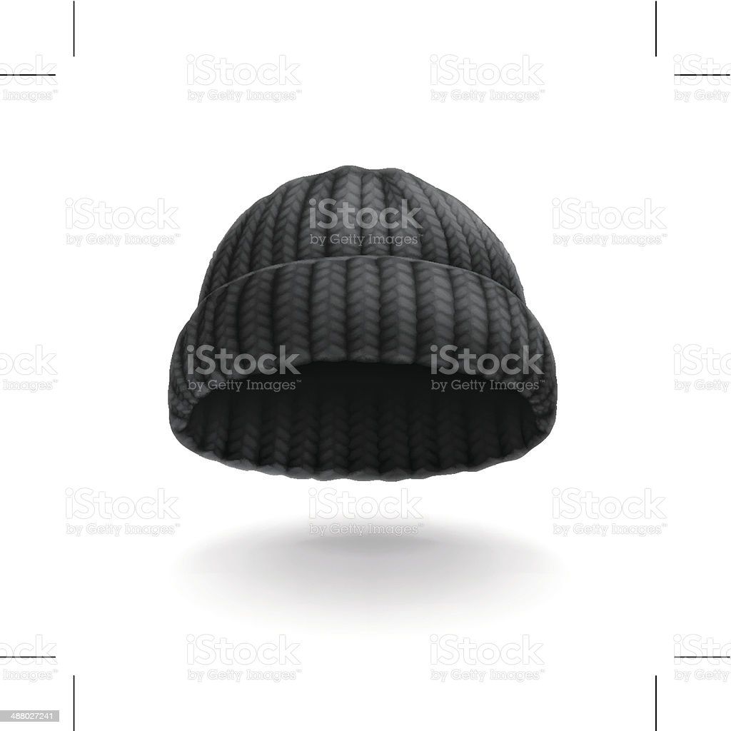 Beanie, black cap icon vector art illustration