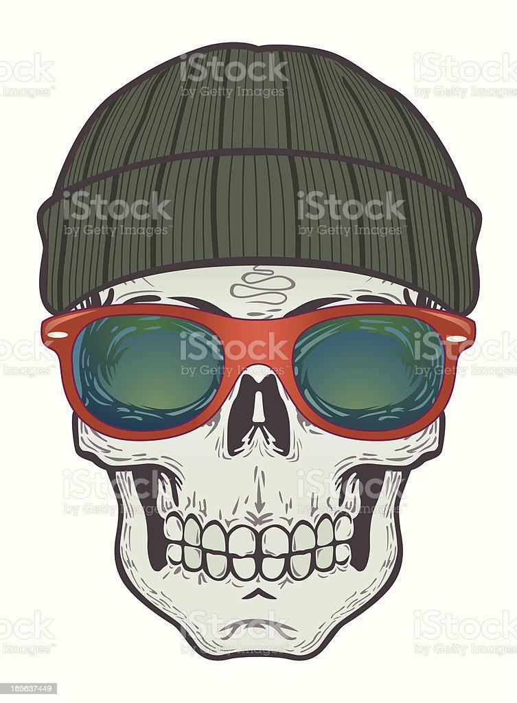 beanie skull with horn glasses royalty-free stock vector art