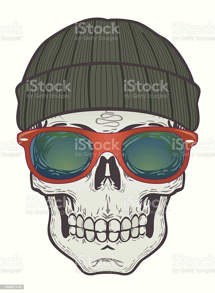 beanie skull with horn glasses vector art illustration