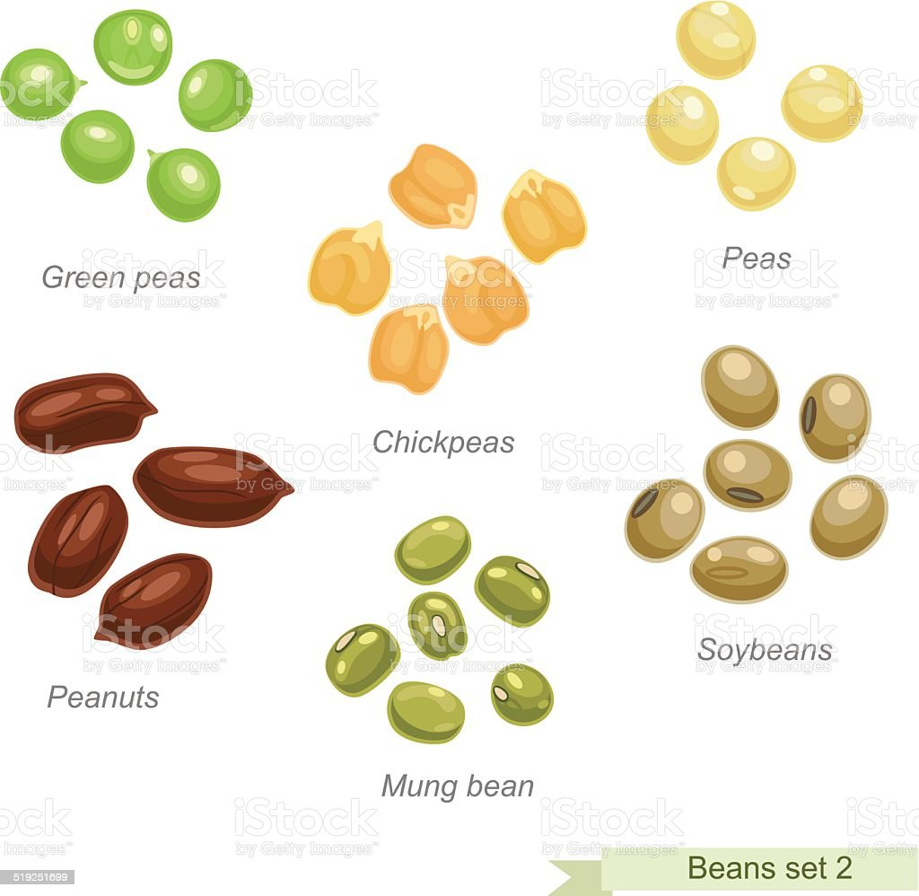 Beans and peas second icon set vector art illustration