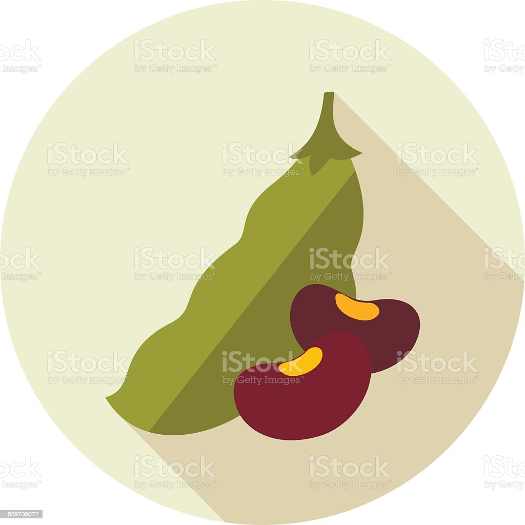 Beans flat icon. Vegetable vector vector art illustration
