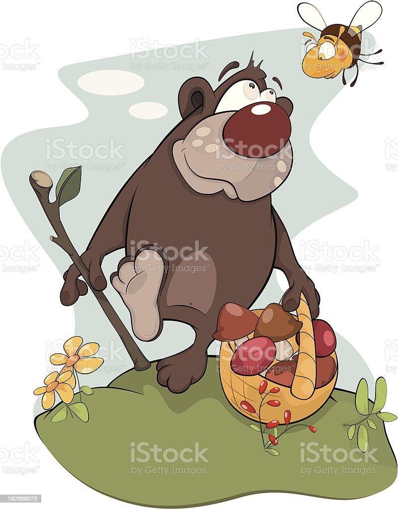 Bear and bee royalty-free stock vector art