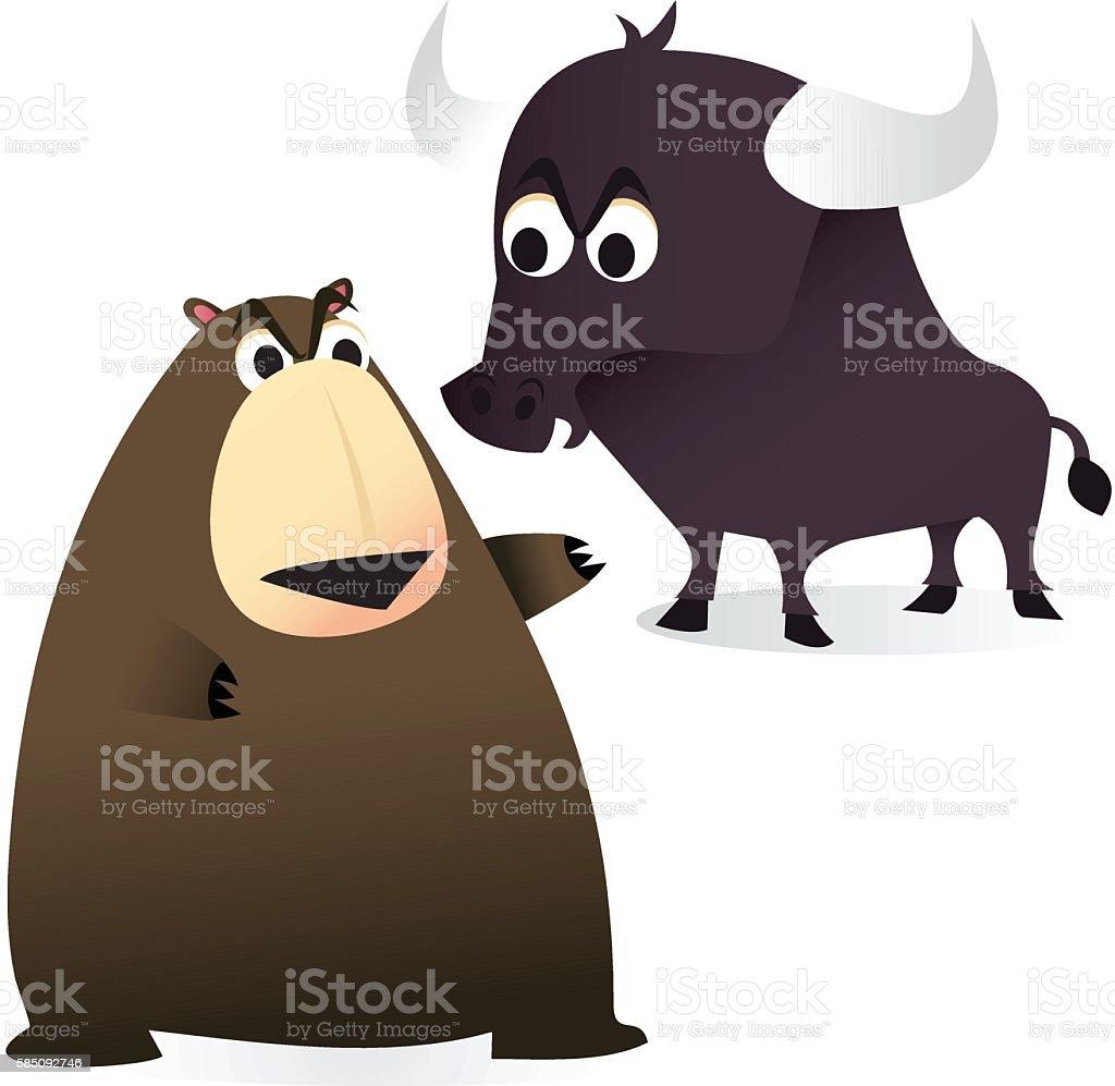 Bear and Bull Market vector art illustration