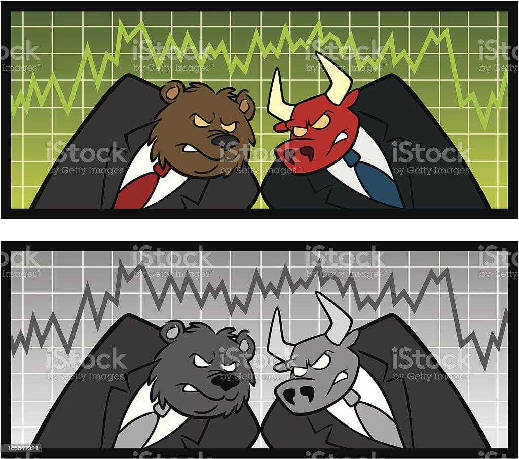 Bear and Bull Stock Market royalty-free stock vector art