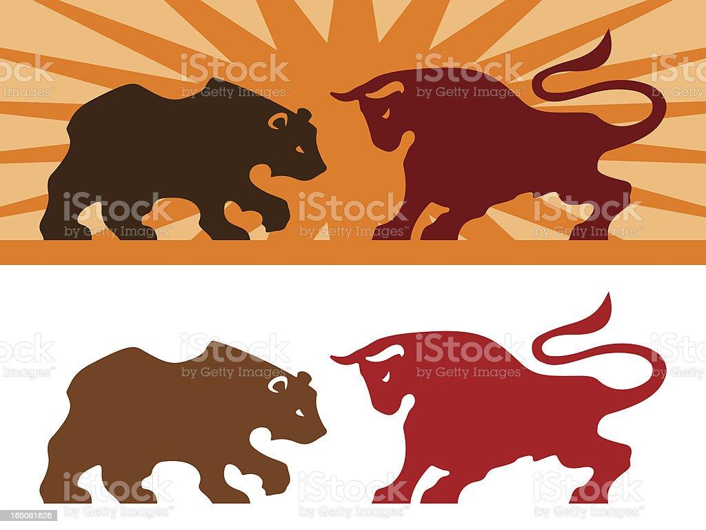 Bear and Bull vector art illustration