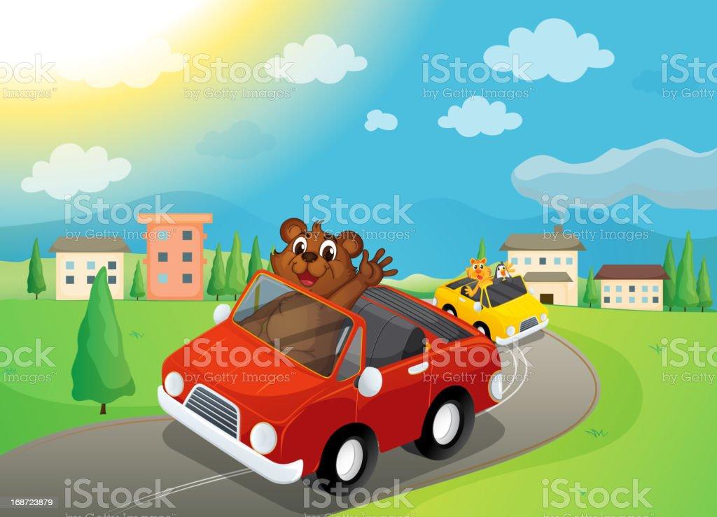 bear and cars royalty-free stock vector art