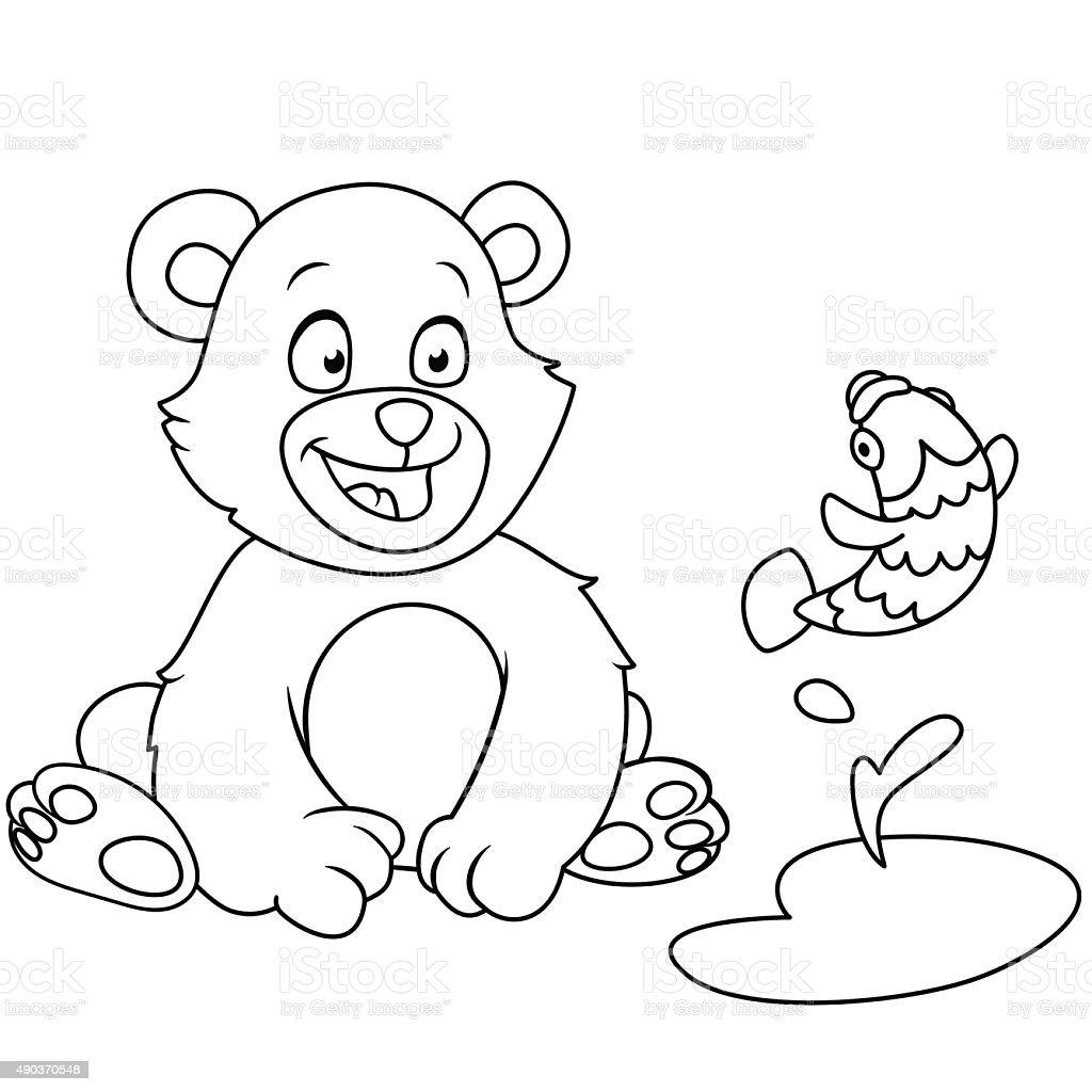 bear and fish vector art illustration