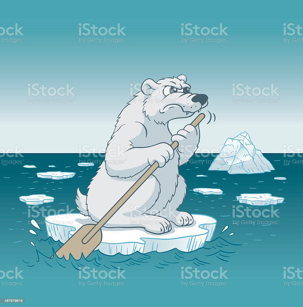 Bear Angry With Climate Change vector art illustration