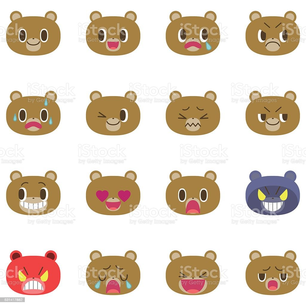 Bear cartoon emotion faces vector art illustration