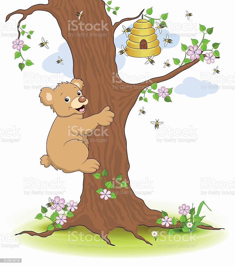 Bear climbs the tree to the honey pot vector art illustration