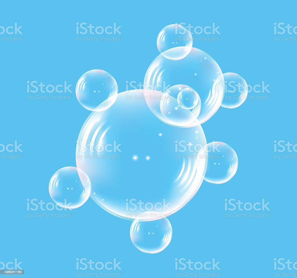 Bear consisting of translucent bubble vector art illustration