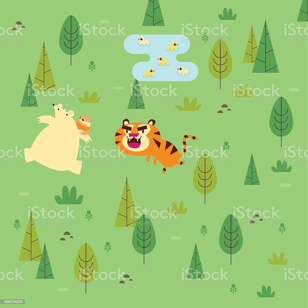 Bear Escaping the Tiger vector art illustration