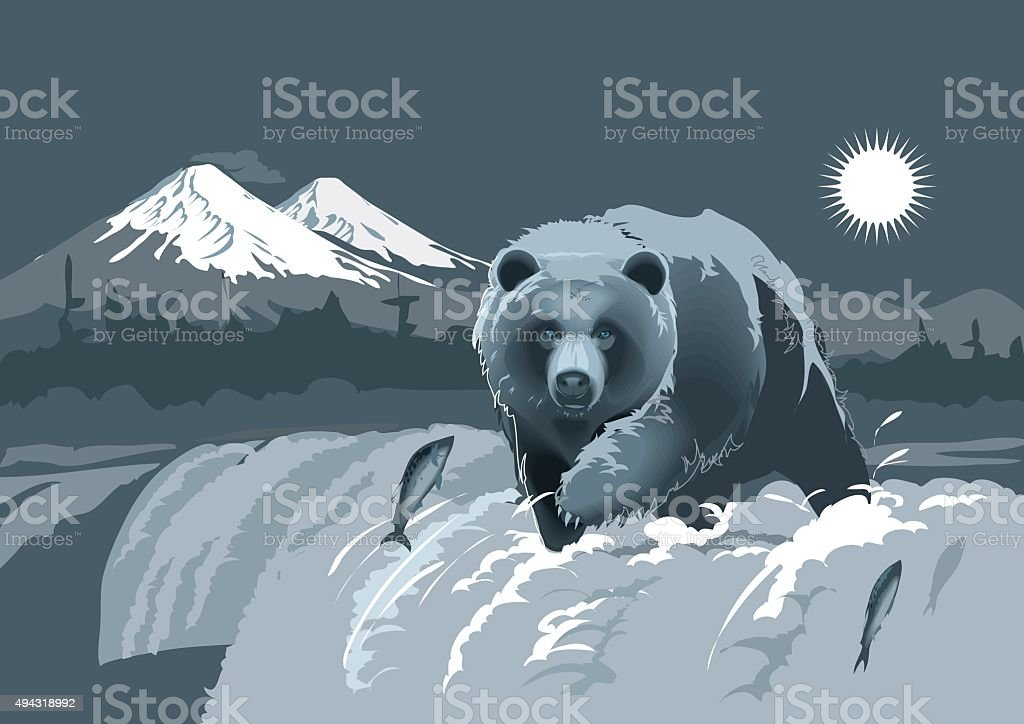 Bear fisherman at the fishing season. Vector vector art illustration