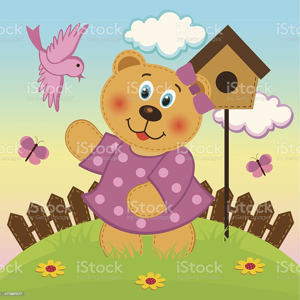 bear girl  feeding birds royalty-free stock vector art