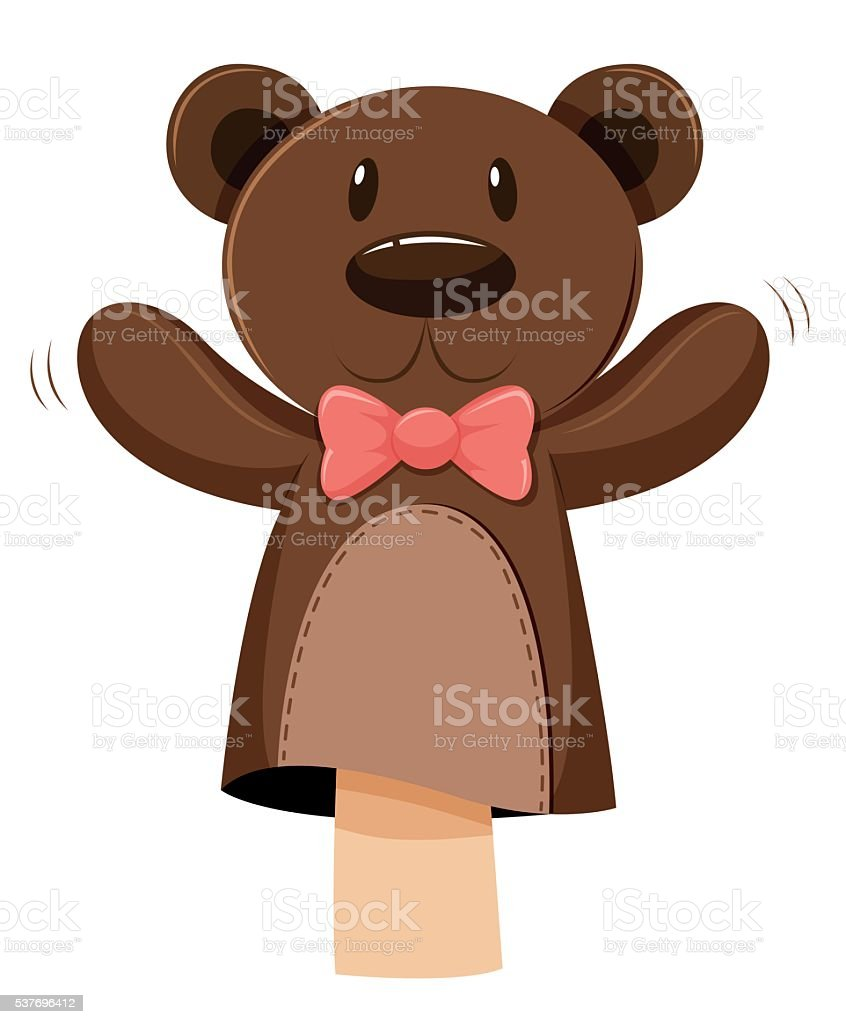 Bear hand puppet with pink bow vector art illustration