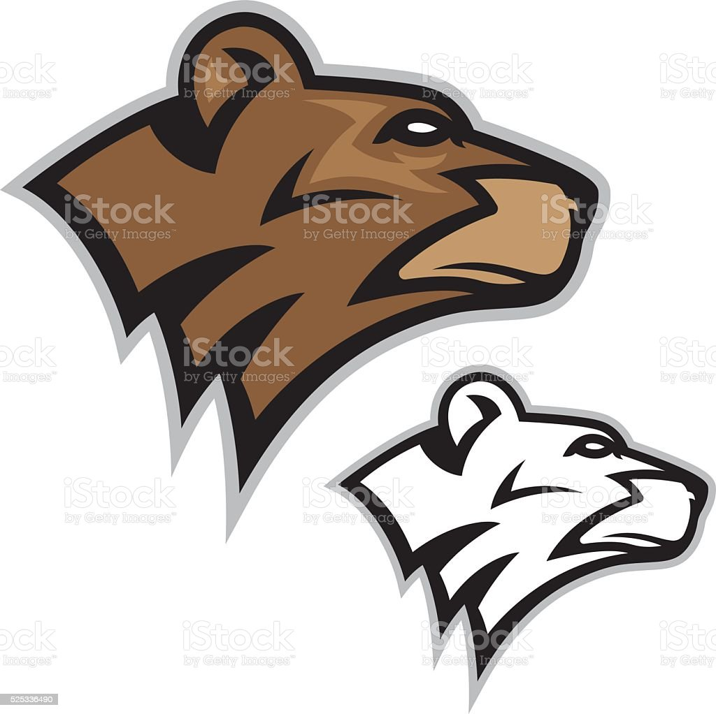 Bear Head Mascot vector art illustration
