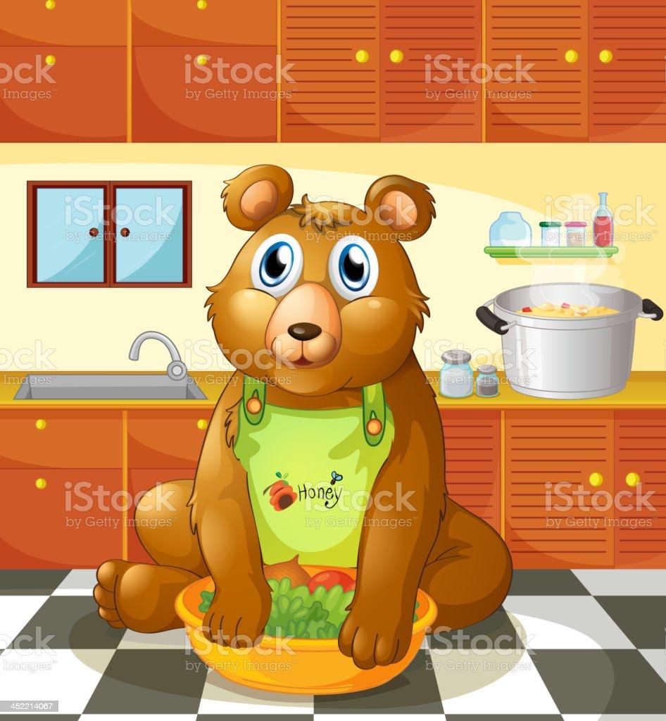 bear holding a bowl of vegetables inside the kitchen vector art illustration