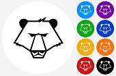 Bear Icon on Flat Color Circle Buttons