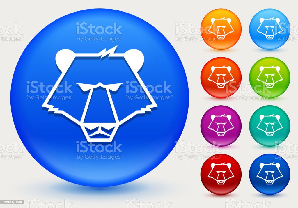 Bear Icon on Shiny Color Circle Buttons vector art illustration