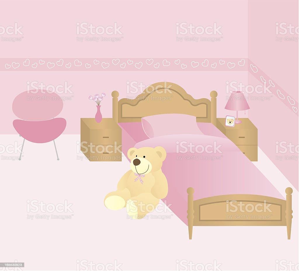 Bear in bedroom vector art illustration