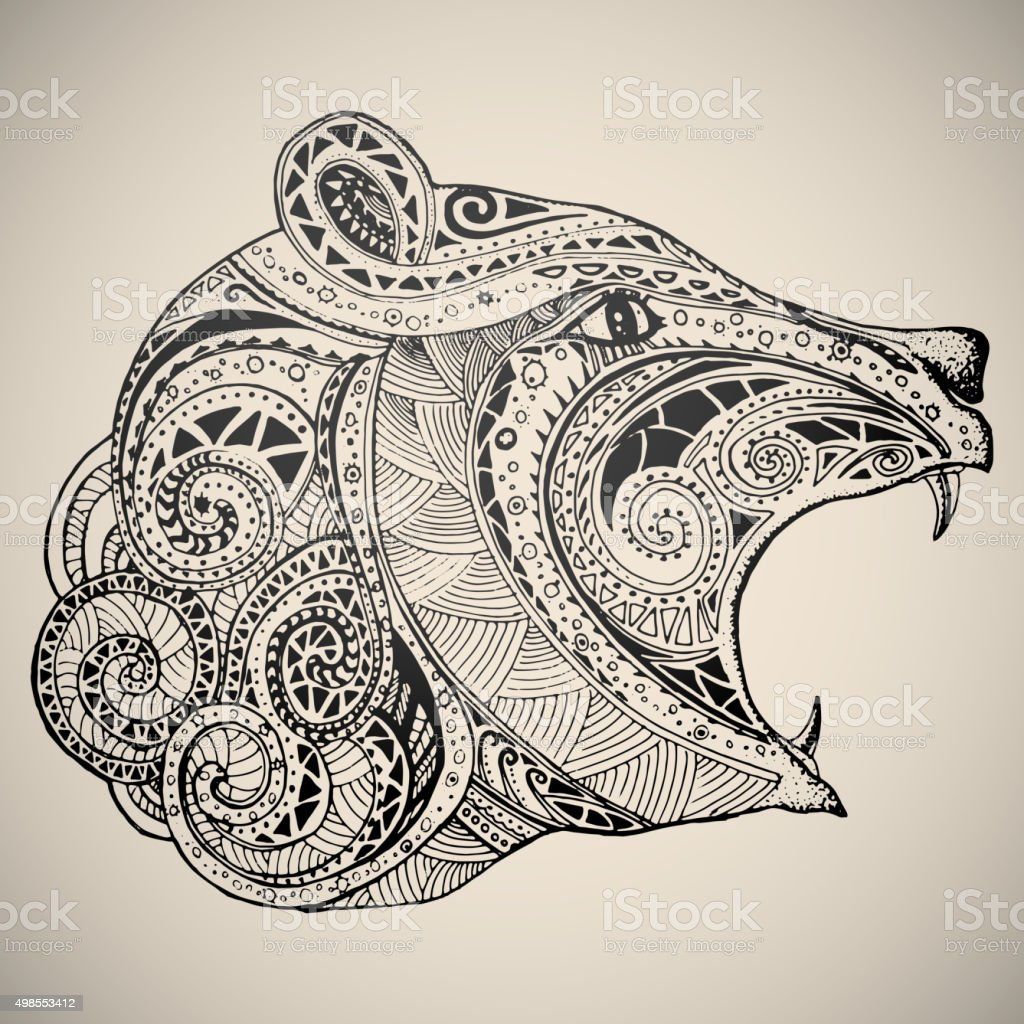 Bear in oriental tribal ornament. vector art illustration