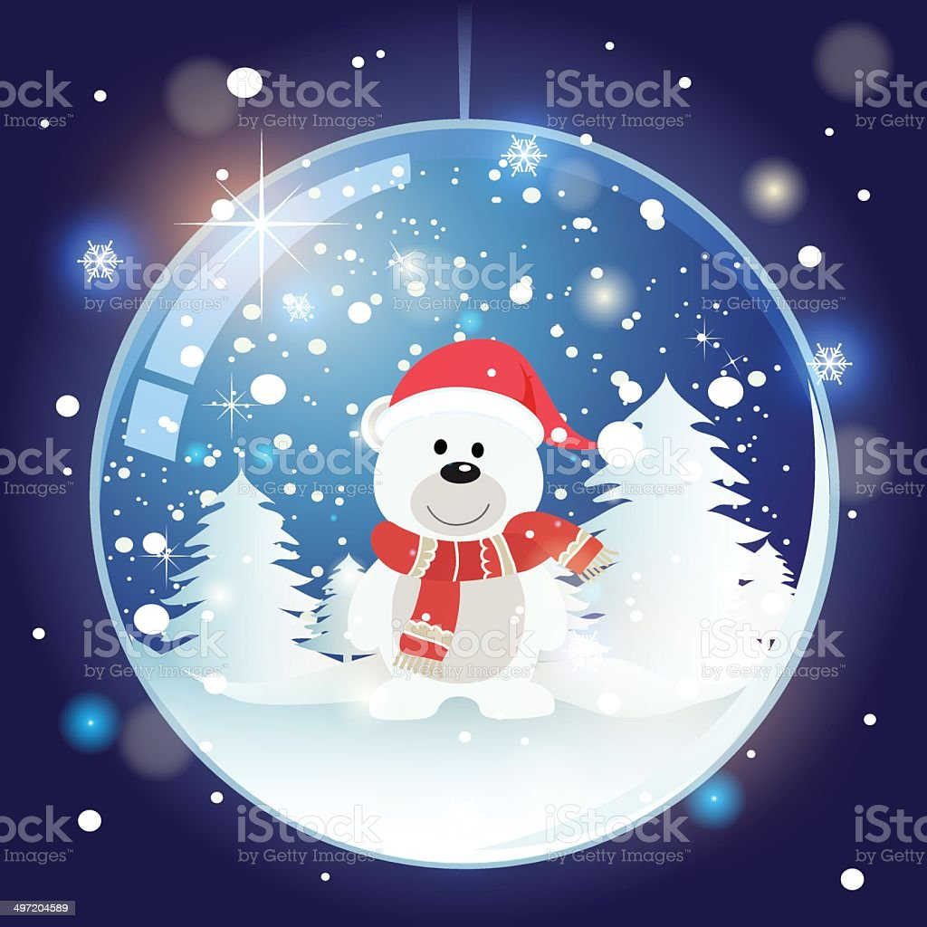 Bear in Snow Globe - Illustration royalty-free stock vector art