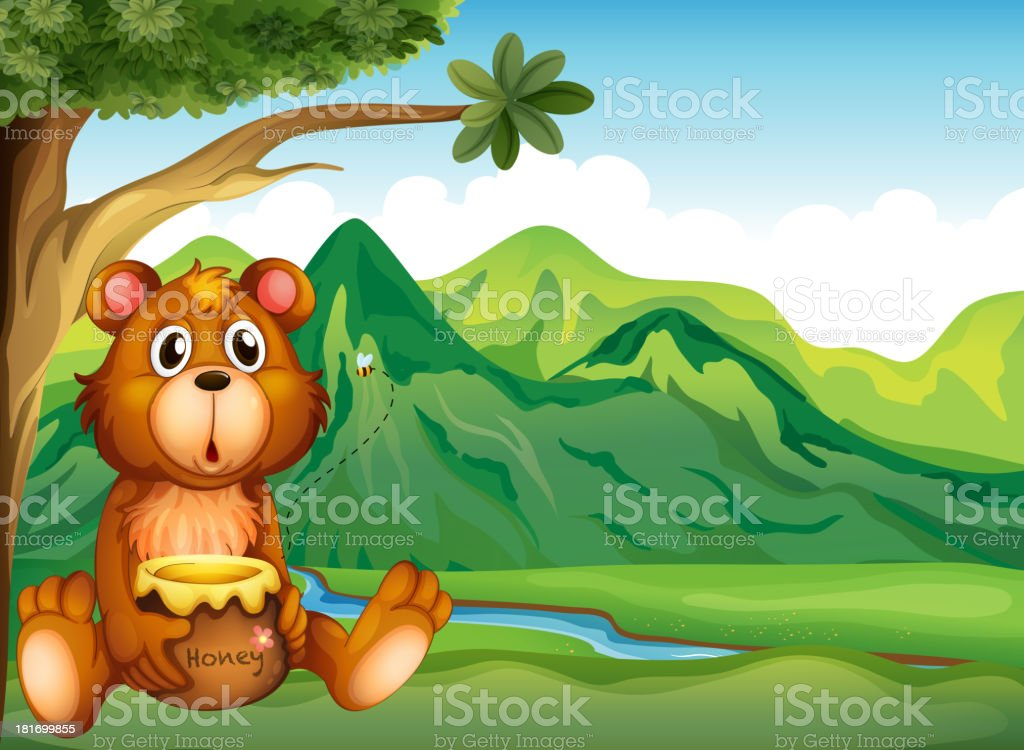 Bear in the riverbank royalty-free stock vector art