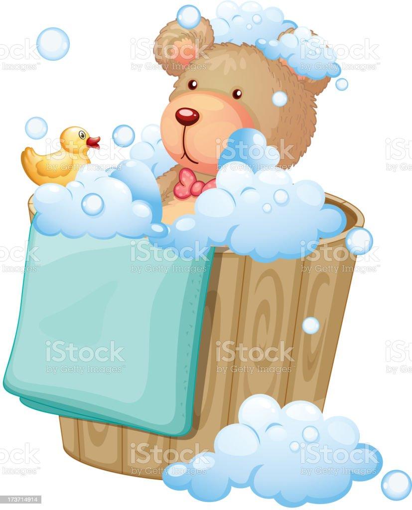 Bear inside the pail full of bubbles royalty-free stock vector art