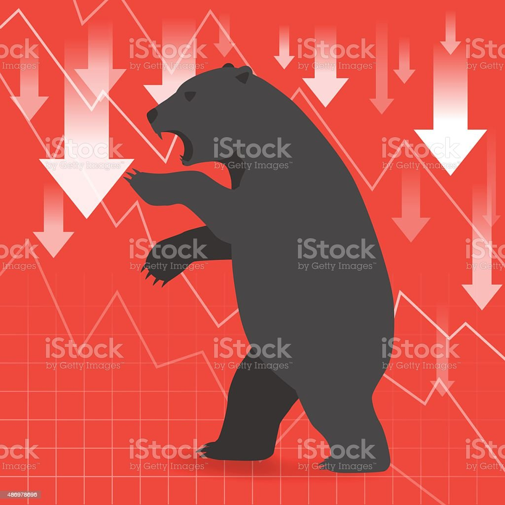 Bear market presents downtrend stock market concept with graph vector art illustration