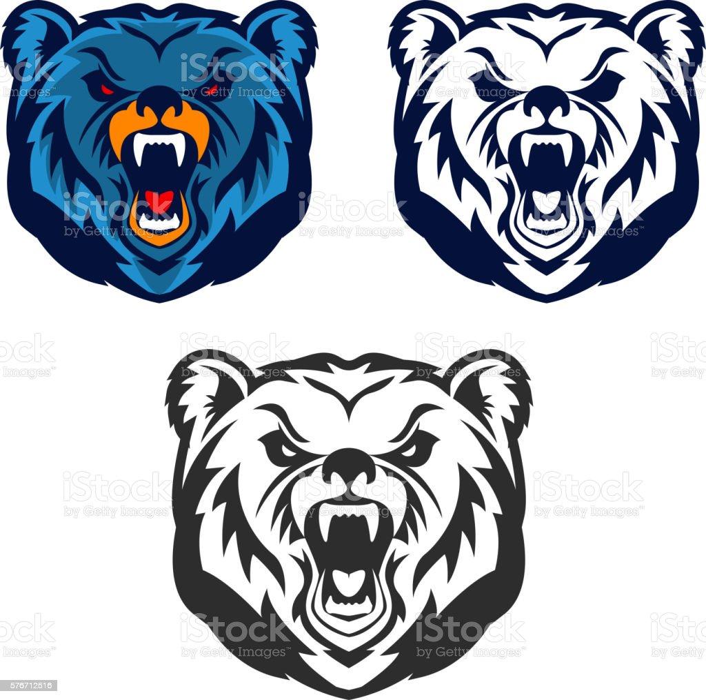 Bear mascot. Emblem of the sport team or club, vector art illustration