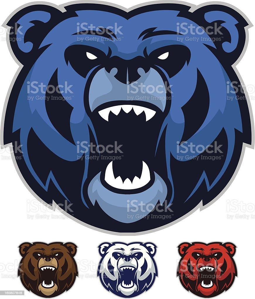 Bear Mascot Heads vector art illustration