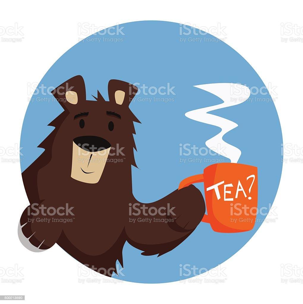 Bear offers tea vector art illustration