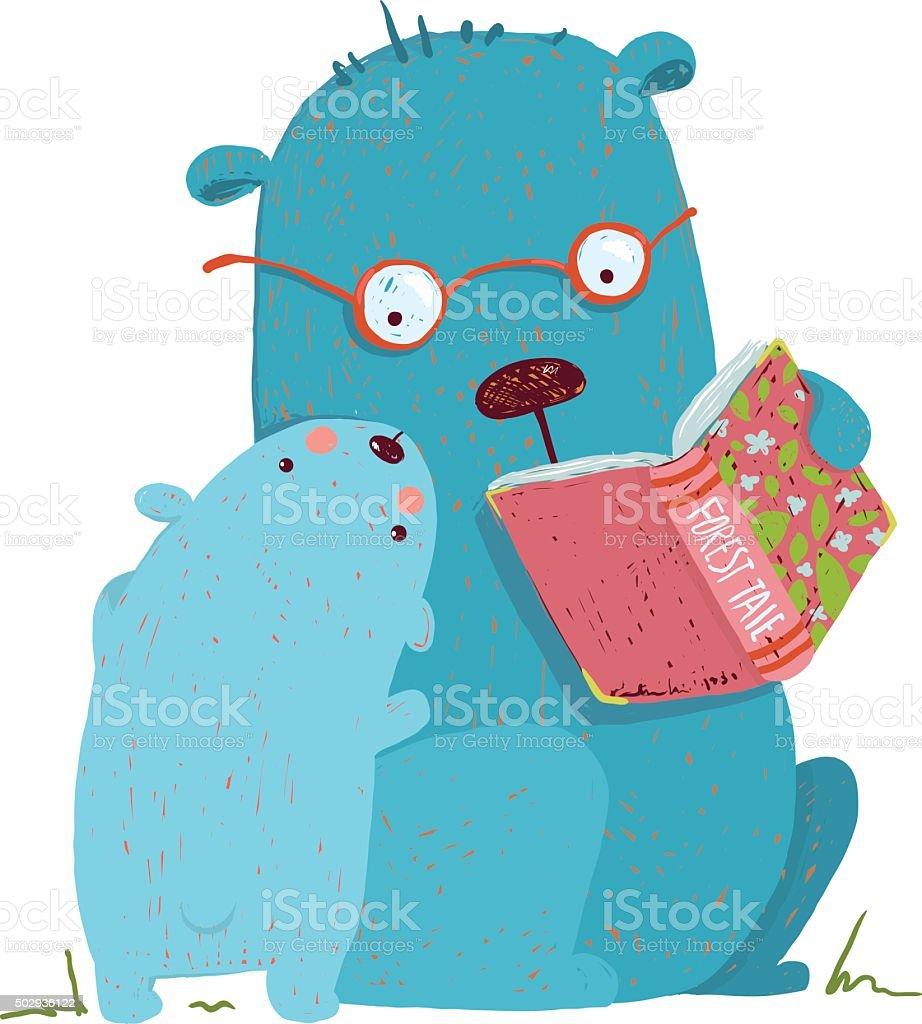 Bear parent reading book to kid vector art illustration