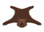 Bear pelt. Big brown bear Grizzly hide. Hunting trophy.