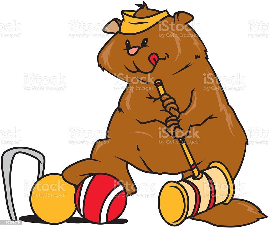 Bear Playing Croquet royalty-free stock vector art