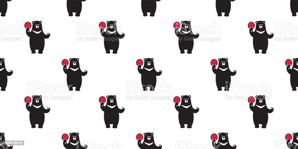 Bear / Polar Bear / Buffalo bear play ping pong Seamless Pattern / background / wallpaper vector art illustration