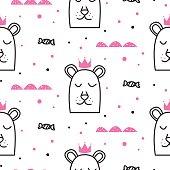 Bear princess line fun seamless pattern for kids and babies.