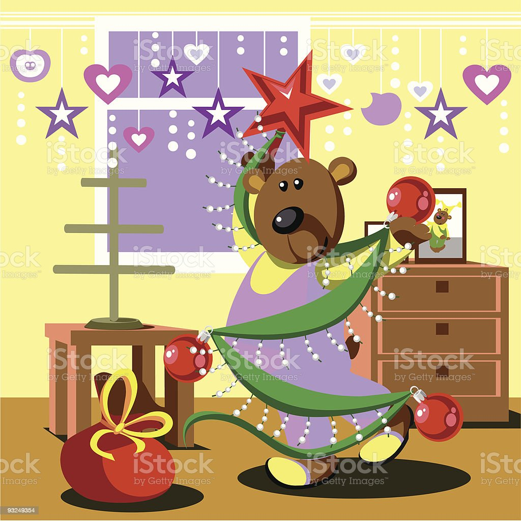 Bear ready xmas and dresses fir tree 21 royalty-free stock vector art
