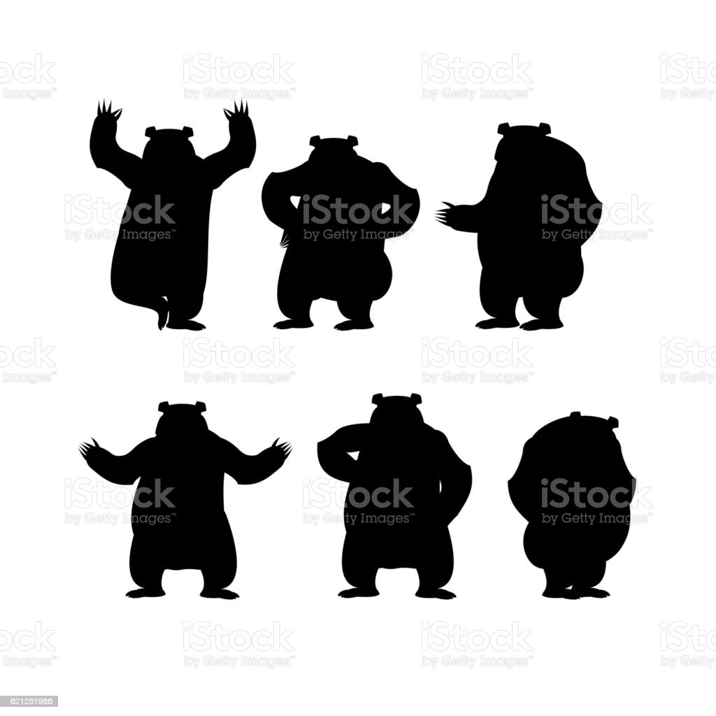 Bear set silhouette. Grizzly various poses. Expression of emotio vector art illustration