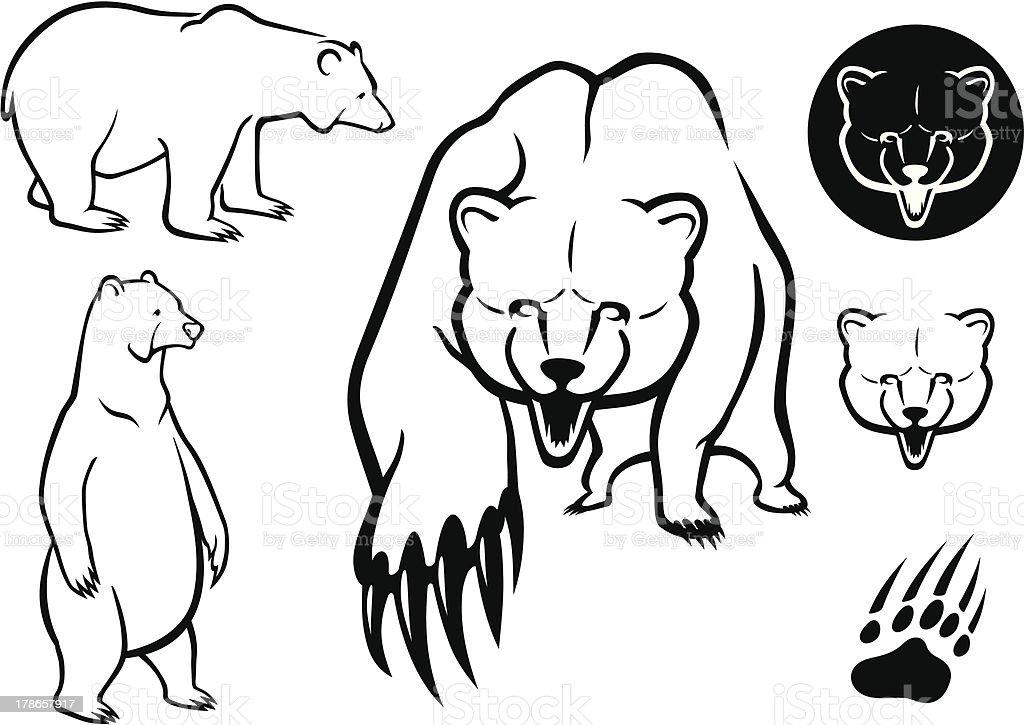 Bear Set royalty-free stock vector art