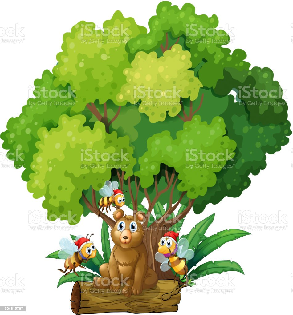 Bear sitting above the log surrounded with bees royalty-free stock vector art